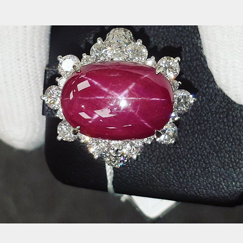 GRS UNHEATED 16.7 CT STAR RUBY AND DIAMOND 3.35 CT RING