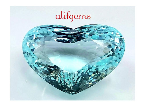 Certified 50.8 Ct Natural Paraiba Tourmaline heart shape gemstone from Mozambiqu