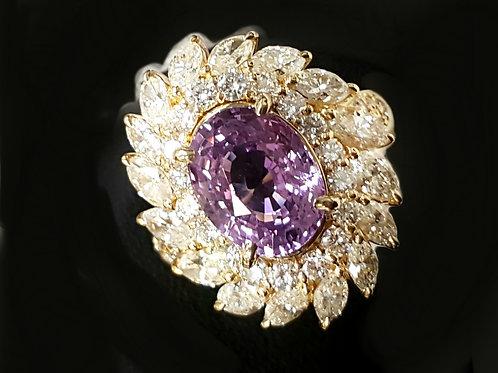 AIGS Certified No Heat 4.290 ct  purplepink sapphire & 2.61 ct Diamond Ring 18 K