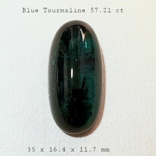 57.2 ct Natural Blueish Green Tourmaline Cabochan from Africa