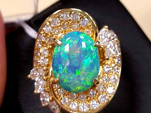 ENGAGEMENT RING BLACK OPAL AND Diamond 18K WG