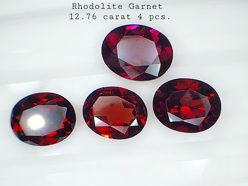 Whole Lot US $15 P/C, 12.76 Ct Natural Rhodolite Garnet  4 pcs.