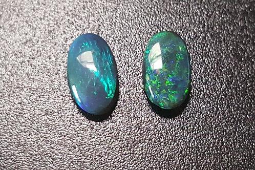 1.44 ct Natural Black opal and Crystal opal pair