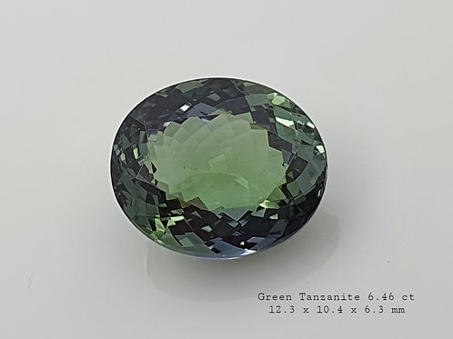 Magnificient Heat Natural Green Tanzanite 6.46 oval gemstone