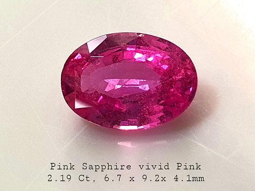 US $950 PC / 2.19 carat No Heat Pink Sapphire 9.2 x 6.7 mm