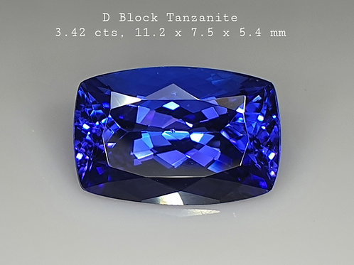3.42 ct D-Block AAA Natural Tanzanite Blue  Loose Gemstone from Tanzania