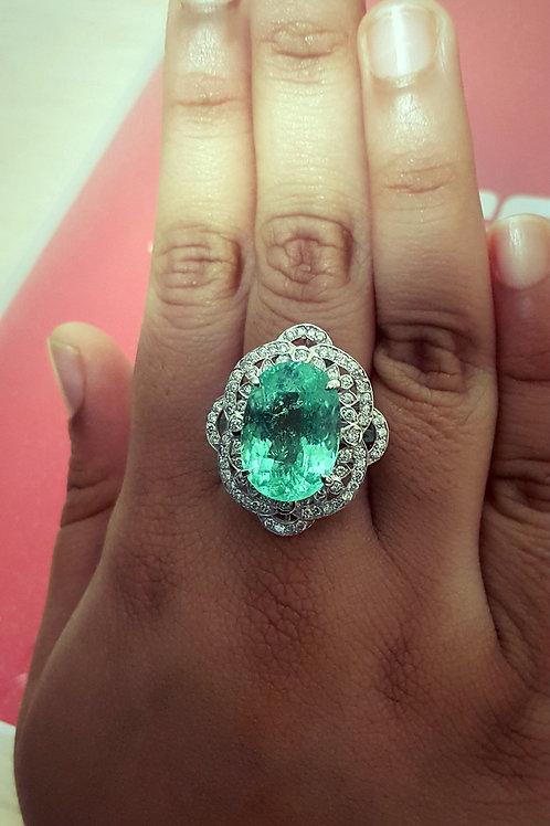 FINE AIGS CERTIFIED Tourmaline Neon Green Ring