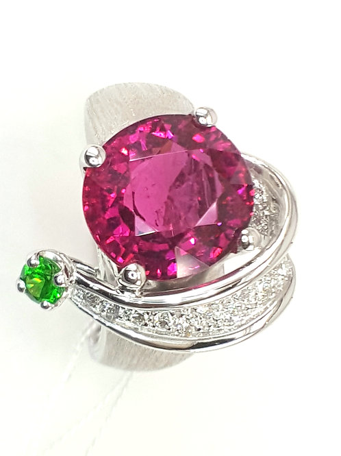 Ring Rubellite Tourmaline, Demantoid garnet diamond ring