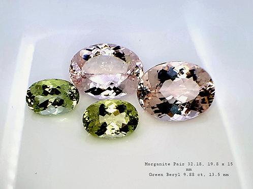 42 ct Pink Morganite & Green Beryl Pair gemstone