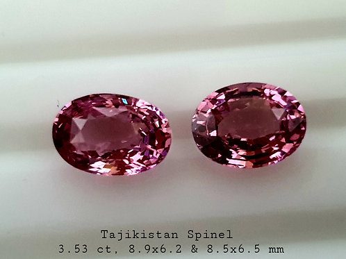 Tajikistan Pink Spinel 3.53 ct Oval calibrated matching Pair loose gemstone
