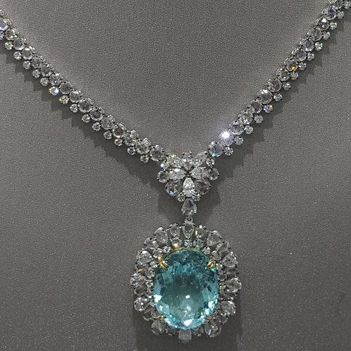 GRS Certified Paraiba Tourmaline and Diamond Pendant