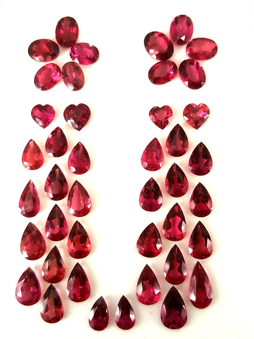 Natural Rubellite Tourmaline lot mixed cut loose gemstones