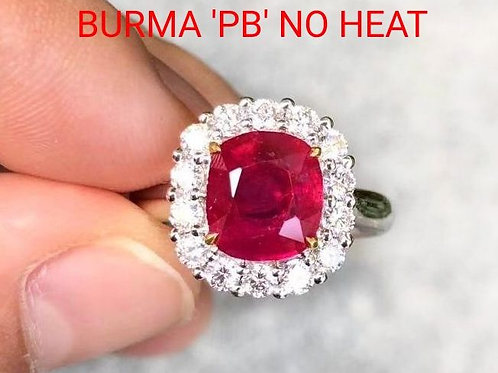 GRS 4.11 Ct Burma Ruby Pigeon Blood Red UNHEATED Ring