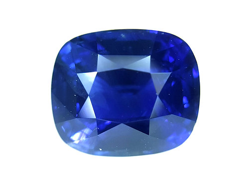 Certified 7.09 ct Natural Ryal Blue Sapphire classic cushion cut, see video