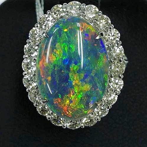 Exquisite 7.57 ct Solid Black Opal and Diamond Ring