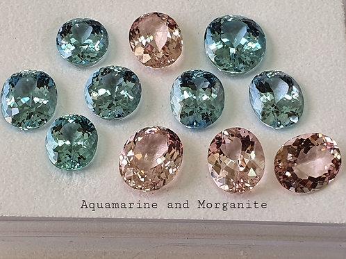 US$ 150 P/C, Fine matching Aquamarine and Morganite pair lot.