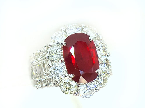 GRS PIGEON BLOOD RED UNHEATED RUBY AND DIAMOND RING