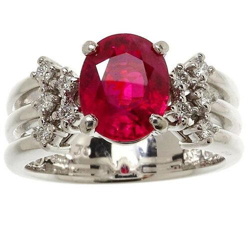 GIA certified Burmese Ruby 1.70 ct Ring, Diamond 0.13, pt900, 9.9 gm, US 6.2