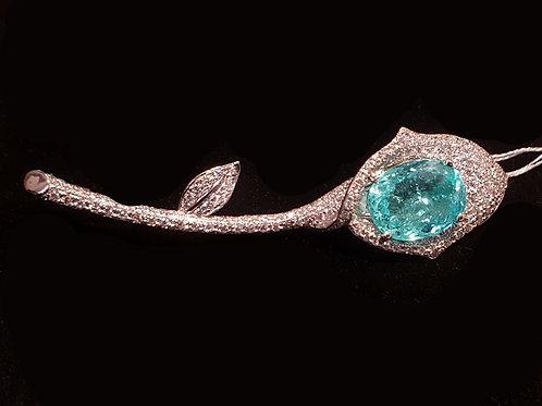 Magnificent Paraiba tourmaline 8.864 ct and Diamond Broach
