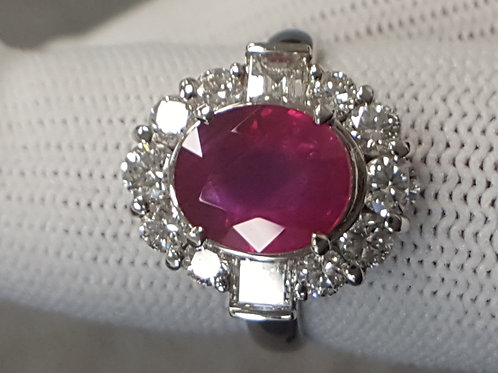 GRS CERTIFIED UNHEATED RUBY 3.16 CT AND DIAMOND RING