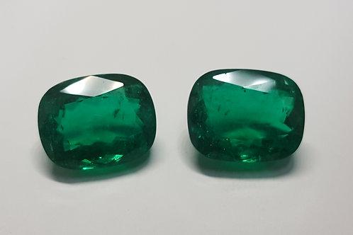 US $ 15K P/C, GRS Emerald Pair 10.83/10.79 ct Muzo vivid green Colombian Emerald