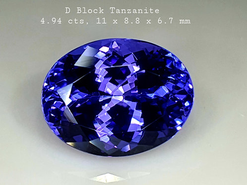 4.94 ct D-Block AAA Natural Tanzanite Blue  Loose Gemstone from Tanzania