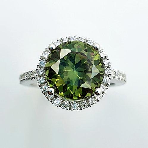 Exclusive Demantoid Garnet & Diamond 18 K WG, Ring