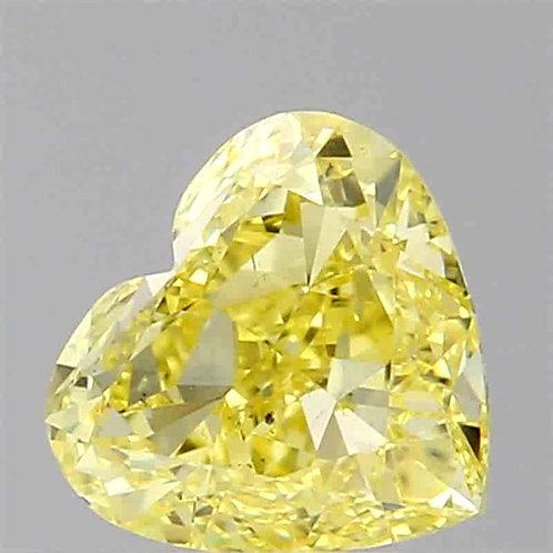 0.51 carat  F Intense Yellow Diamond Heart GIA certified