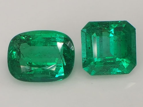 Natural Minor Emeralds 3.47 carats 2 pcs gemstone buy now