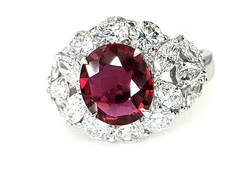 GRS CERT PIGEON BLOOD RED UNHEATED RUBY AND DIAMOND RING
