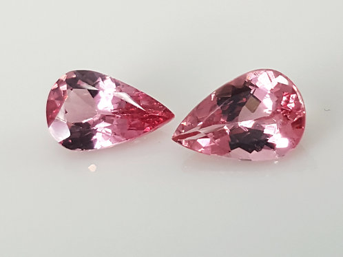 1.73 ct Natural Pair Mahenge Spinel Pink loose stone pear from Tanzania