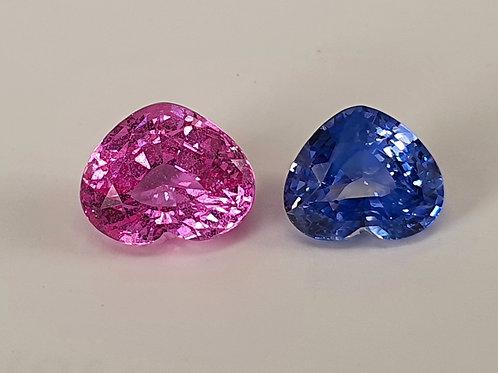 3.16 carat Blue and Pink Sapphire heart shape matching pair