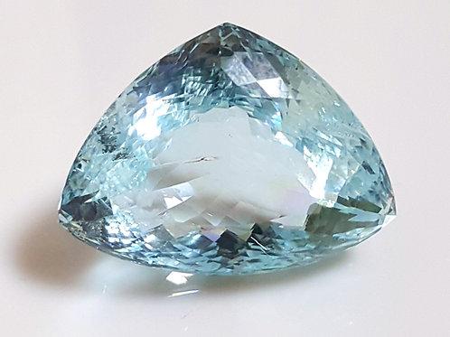 55 carat Certified Natural Aquamarine trillion gemstone
