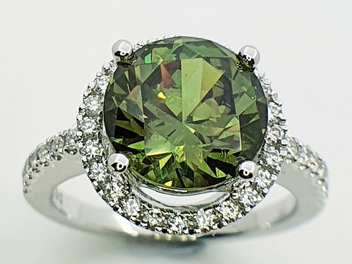 Exclusive Demantoid Garnet & Diamond 18 K WG, Ring
