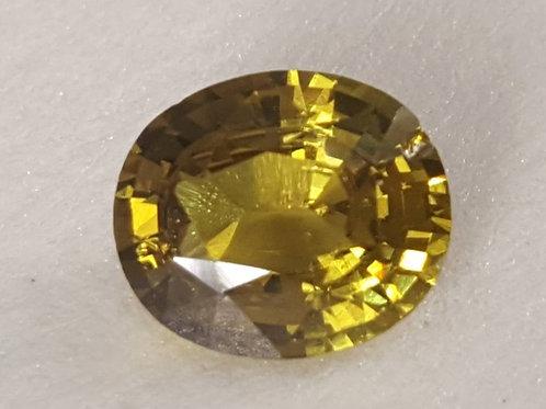 Certified No Heat 1.55 carat yellowish green Sapphire from Madagascar