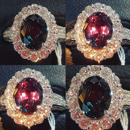Natural Brazil Alexandrite and Diamond engagement Ring
