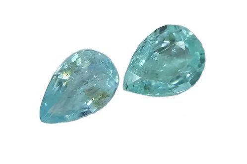 0.99 carats Natural ParaibaTourmaline Pair Pear Neon Blue from Mozambique,