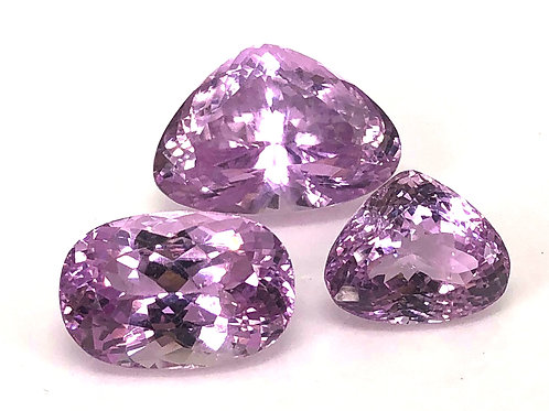 99 ct Natural Kunzite gemstone 3 qty