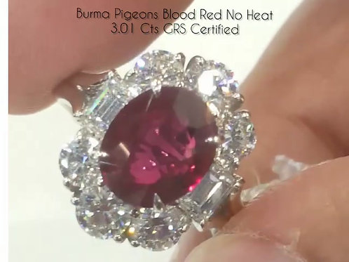 GRS Certified 3 carats Burmese pigeon blood red Ruby and Diamond Ring