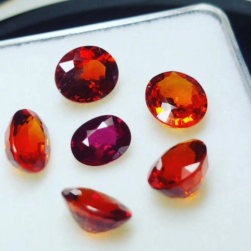 7.32 ct NH Spessartine and 0.66 ct pigeon blood red NH Ruby