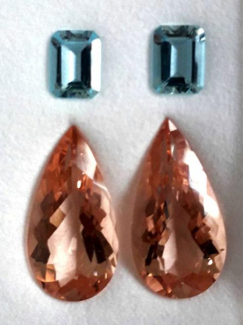Natural 17.47 ct Morganite and Aquamarine Pair set from Brazil