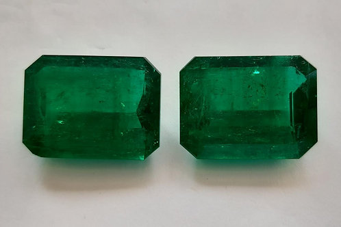 82 carats Certified Colombian Emerald Pair vivid green