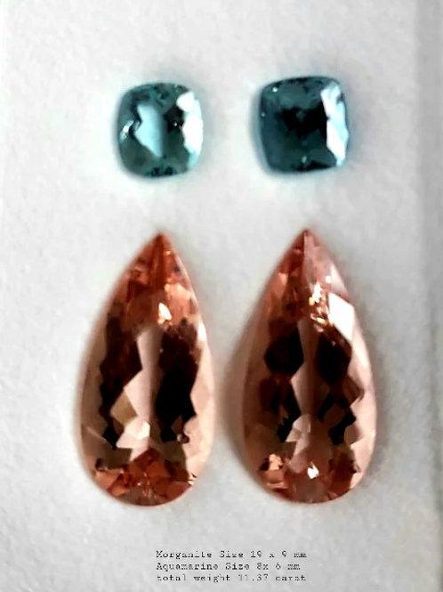 Natural 11.37 ct Morganite and Aquamarine Pair set from Brazil