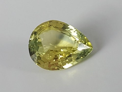 Certified No Heat 1.54 carat Yellowish green Sapphire from Madagascar