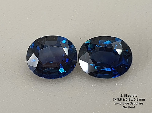 2.15 ct Matching Pair Natural Blue Sapphire loose stone