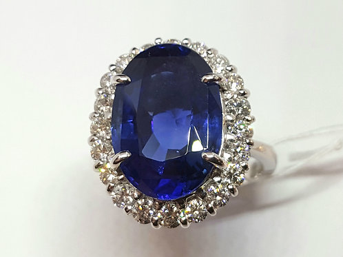 MAGNIFICIENT 12 CT ROYAL BLUE SAPPHIRE SRI LANKA AND DIAMOND RING