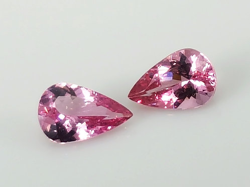 1.55 ct Natural Pair Mahenge Spinel Pink loose stone pear from Tanzania