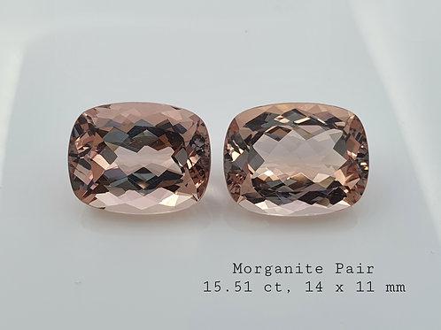 US $65/ct, 15.51 ct Natural Morganite Pair Cushion gemstone