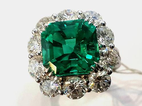 GRS 5.59 ct Muzo Minor Natural Emerald and Diamond Ring