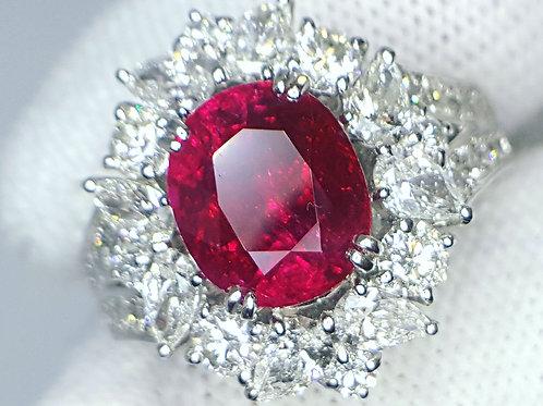 3.14 Ct Burma Ruby pigeons Blood and Diamond ring